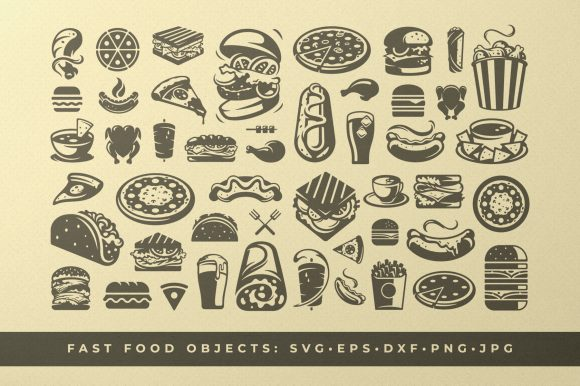 Fast Food Cooking Symbols and Silhouette Graphic Objects By vasyako1984