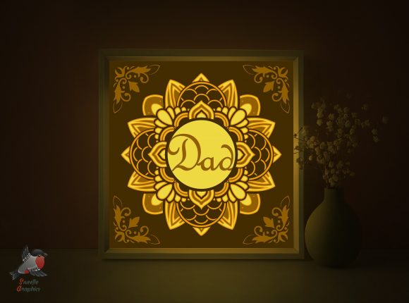 Father's Day Dad Gift Light Box Template Graphic 3D Shadow Box By SweetieGraphics