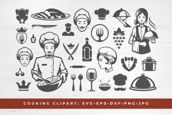 Food Cooking Silhouettes and Restaurant Graphic Objects By vasyako1984