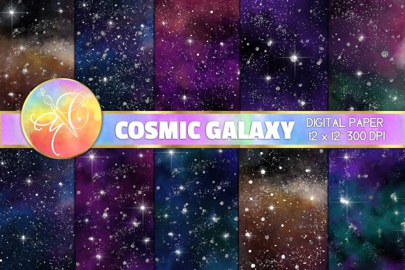 Galaxy Digital Paper, Cosmic Background Graphic Backgrounds By paperart.bymc
