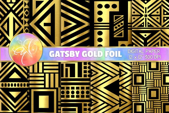 Gatsby Black Digital Paper, Art Deco Graphic Backgrounds By paperart.bymc