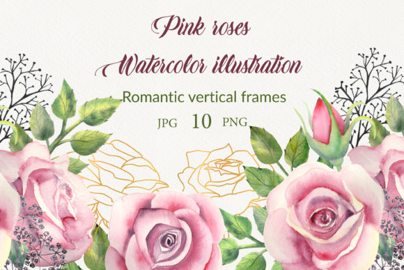 Print on Demand: Geometric Frames with Pink Rose Graphic Illustrations By Natika_art