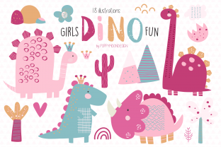 Print on Demand: Girls Dino Fun Clipart Grafik Illustrationen von poppymoondesign