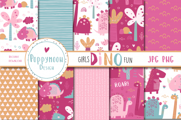 Print on Demand: Girls Dino Fun Paper Graphic Patterns By poppymoondesign