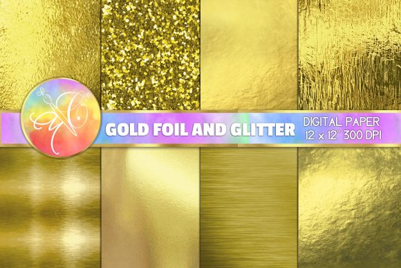 Gold Foil and Glitter Digital Paper Graphic Backgrounds By paperart.bymc
