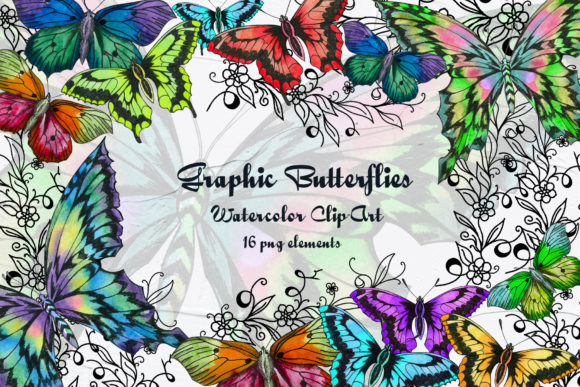 Graphic Butterflies Clip Art Graphic Illustrations By BarvArt