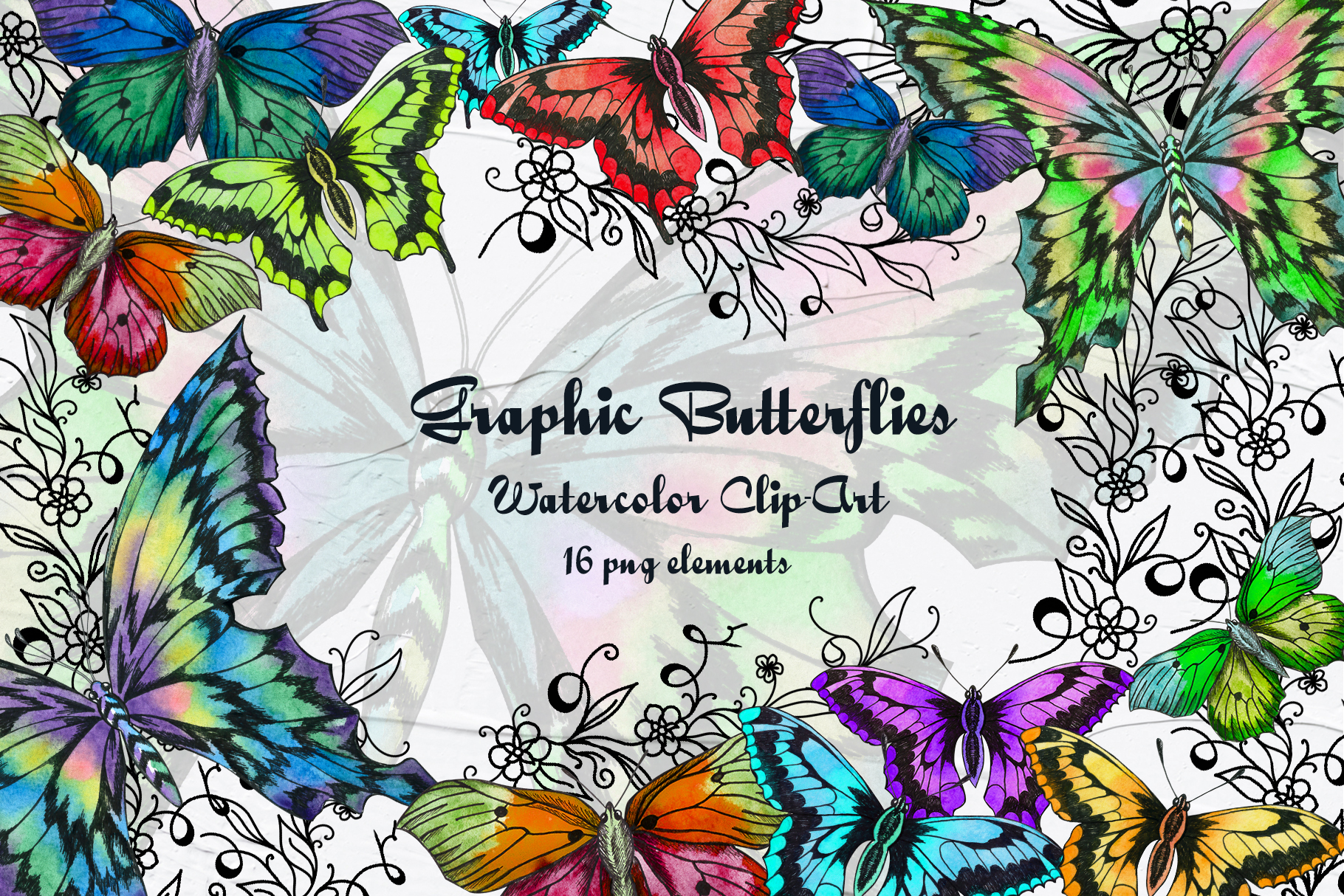 Graphic Butterflies Clip Art Graphic By Barvart Creative Fabrica