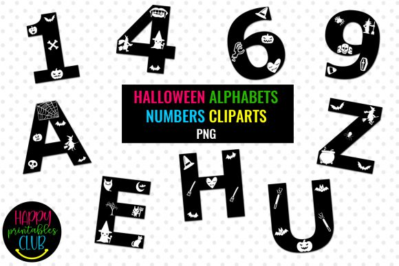 Print on Demand: Halloween Alphabets Numbers Clipart Graphic Illustrations By Happy Printables Club