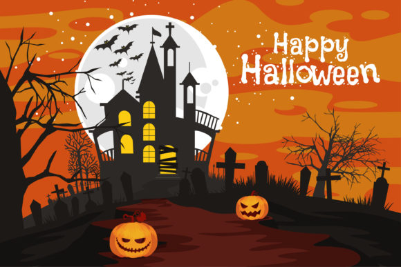 Halloween Haunted House Vector Graphic