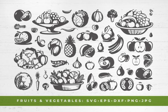 Healthy Food Vegetables and Fruits Graphic Objects By vasyako1984