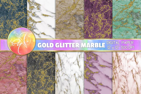 Marble and Gold Glitter Digital Paper Graphic Backgrounds By paperart.bymc