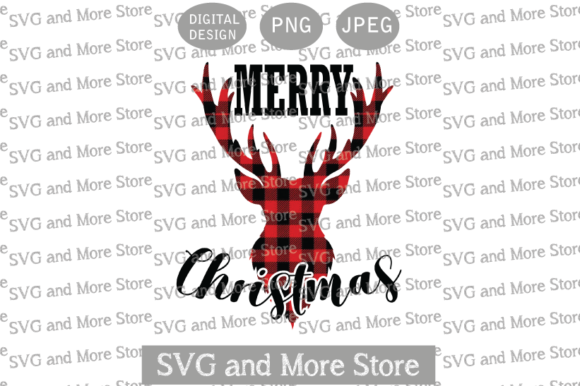 Merry Christmas, Plaid Reindeer Graphic Illustrations By svgandmorestore