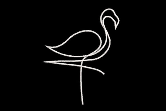 Print on Demand: Minimalistic One Line Flamingo Birds Embroidery Design By Embroidery Shelter