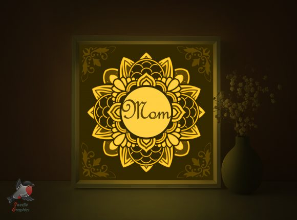 Mother's Day Gift Light Box Template Graphic 3D Shadow Box By SweetieGraphics