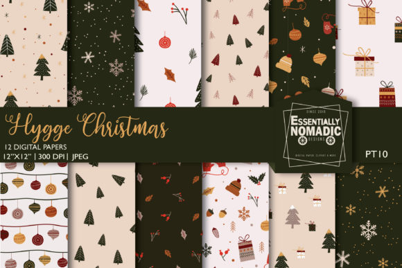 Nordic Christmas Digital Paper Pack Graphic Patterns By EssentiallyNomadic
