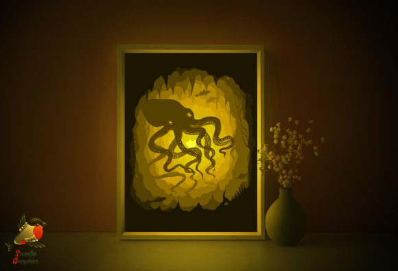 Octopus Sea Fish Light Box 3D Template Graphic 3D Shadow Box By SweetieGraphics