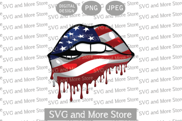 Patriotic Lips, Dripping Flag Lips Graphic Illustrations By svgandmorestore