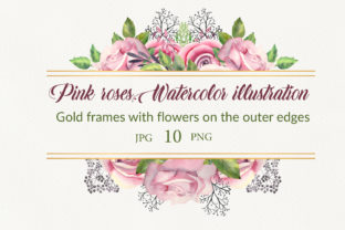 Print on Demand: Pink Roses. Watercolor Frames Graphic Illustrations By Natika_art