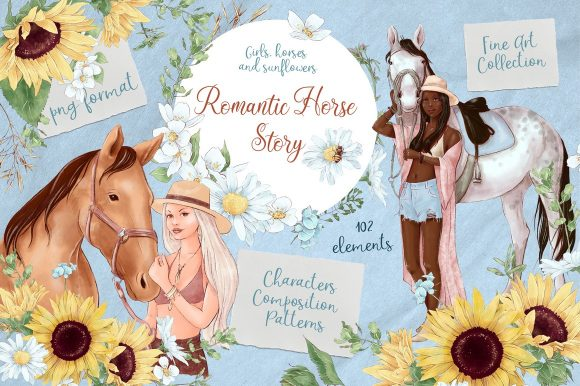 Print on Demand: Romantic Horse Story Graphic Illustrations By nicjulia