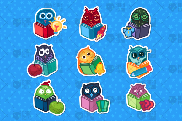 Print on Demand: School Owls Stickers Set Graphic Objects By barsrsind