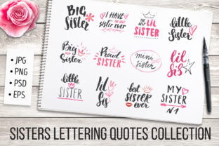 Sisters Lettering Quotes Collection Graphic Illustrations By Lemon Workshop