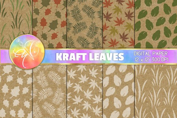 Stamping Leaves Kraft Digital Paper Graphic Backgrounds By paperart.bymc
