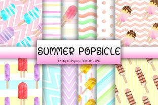 Print on Demand: Summer Popsicle Background Digital Paper Graphic Backgrounds By PinkPearly