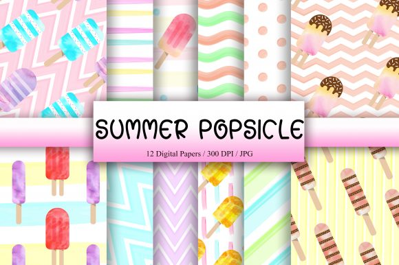 Summer Popsicle Background Digital Paper Graphic Backgrounds By PinkPearly