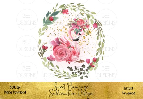 Sweet Pink Flamingo Sublimation Design Graphic Illustrations By STBB