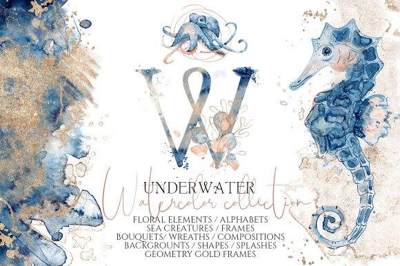 Underwater Watercolor Collection Graphic Illustrations By EvgeniiasArt