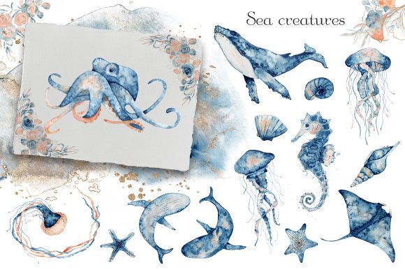 Underwater Watercolor Collection Graphic Illustrations By EvgeniiasArt - Image 2