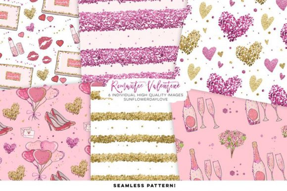 Print on Demand: Valentine Digital Paper Pack, Clip Art Grafik Illustrationen von SunflowerLove