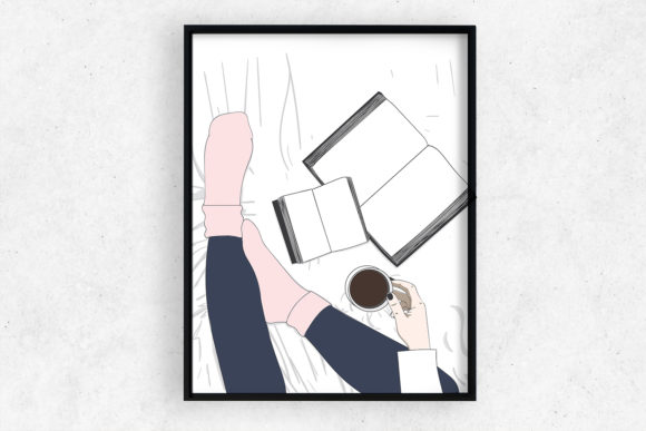 Wall Art Top View Girl Drinking Coffee Graphic Illustrations By Saydung89