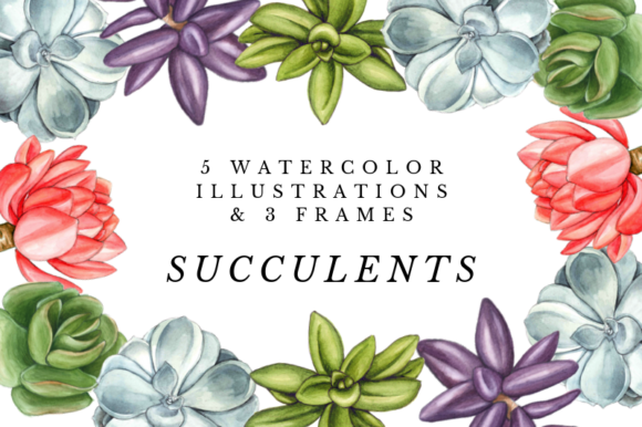 Watercolor Succulent Clipart, Wreaths Graphic Illustrations By Aneta Design
