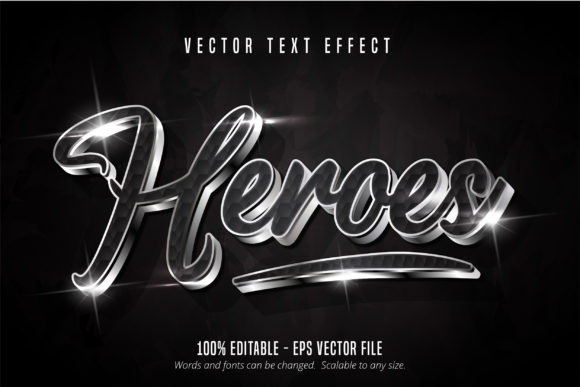 Print on Demand: Shiny Silver Style Editable Text Effect Graphic Graphic Templates By Mustafa Bekşen