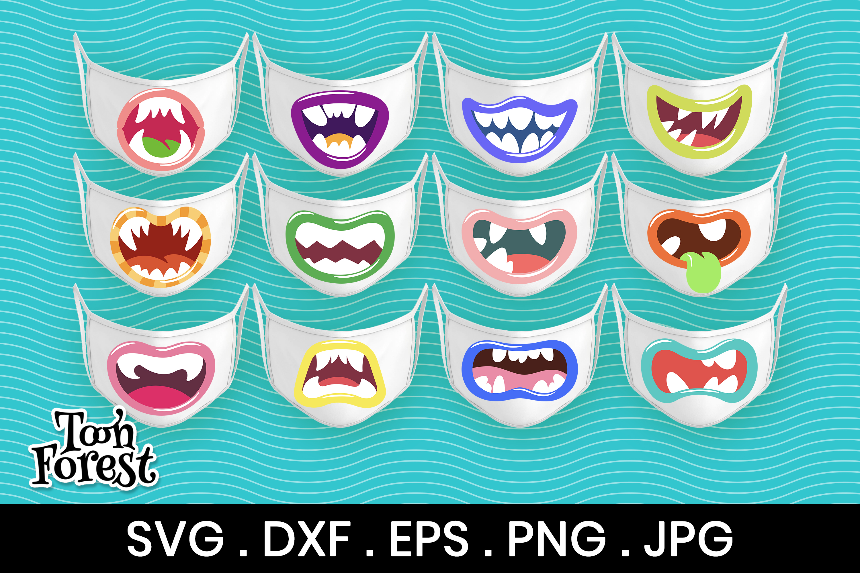 12 Monster Mouth Cut Files for Face… SVG File
