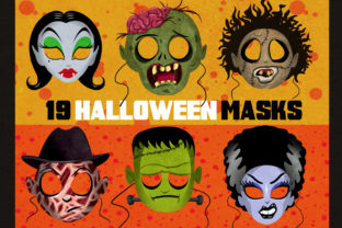 19 Classic Halloween Masks Clip Art Set Graphic Illustrations By Dapper Dudell