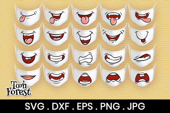 Print on Demand: 20 Funny Mouths Cut Files for Face Mask Graphic Crafts By Toon Forest