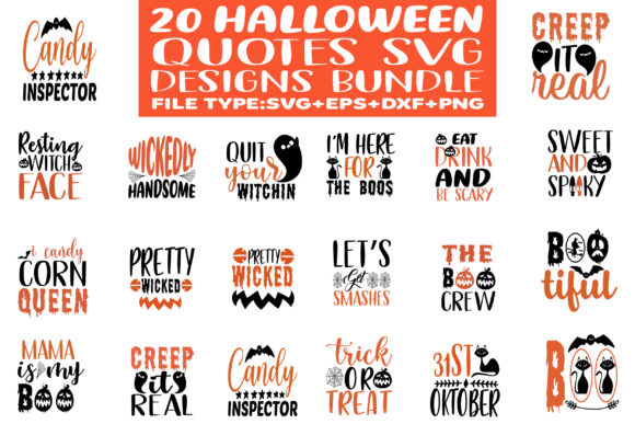Print on Demand: 20 Halloween Designs Bundle Graphic Crafts By Graphics Home.net