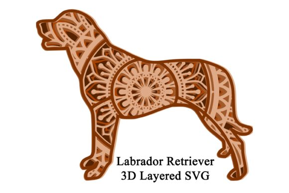 3D Dog Mandala Labrador Graphic 3D SVG By Digital Honey Bee