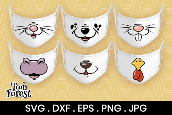 6 Animal Faces Cut Files For Face Mask Graphic By Toon Forest Creative Fabrica