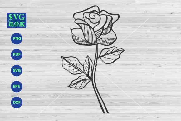 Print on Demand: A Rose with a Stalk Single Flower Graphic Crafts By svgBank