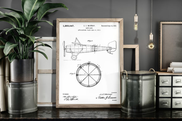 Print on Demand: Airplane 1918 Patent Poster Blueprint Graphic Illustrations By Antique Pixls