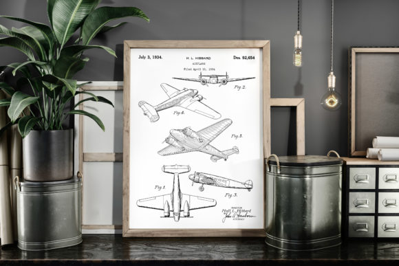 Print on Demand: Airplane 1934 Vintage Patent Art Poster Graphic Illustrations By Antique Pixls