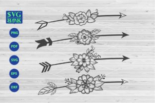 Print on Demand: Arrows with Flower Graphic Crafts By svgBank