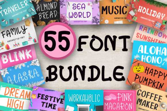 Big Fonts Bundle  By PearlyDaisy