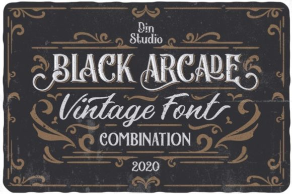 Print on Demand: Black Arcade Display Schriftarten von Din Studio