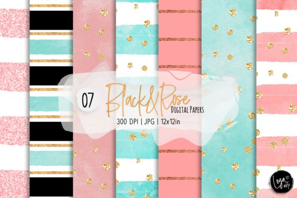 Print on Demand: Black and Rose Digital Paper Set Graphic Backgrounds By loyaarts