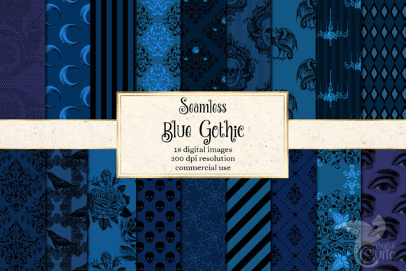 Print on Demand: Blue Gothic Digital Paper Graphic Backgrounds By Digital Curio