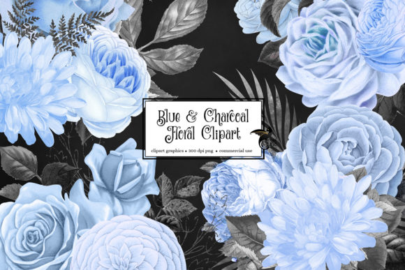 Print on Demand: Blue and Charcoal Floral Clipart Graphic Illustrations By Digital Curio